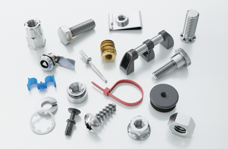 A variety of fastenings including brass insert for plastic, lock, handle, cable tie, nut and bolt