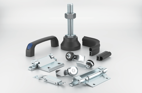 CGI of an enclosure foot, handle, gasket, hinges and locks on a light grey background