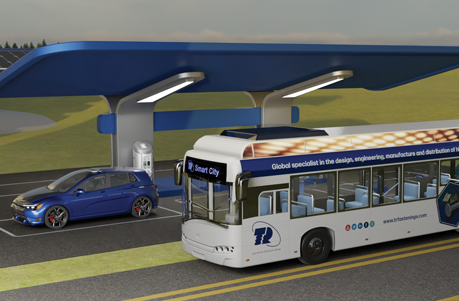 CGI blue electric car using a charging station with a bus in front and to the right with TR branding