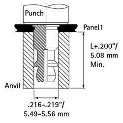 Self Clinch Clip on Stand off Punch Anvil Diagram 1