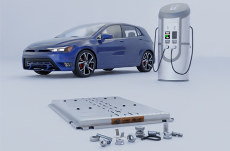 Battery pack module with fasteners with a blue electric car and electric vehicle charging unit in background