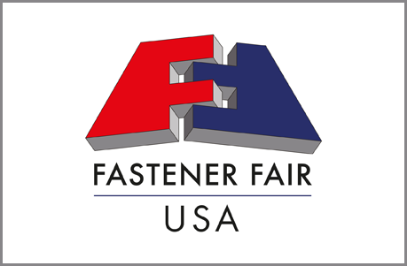 A red F and an upside down blue F interlocking with the words Fastener Fair USA underneath