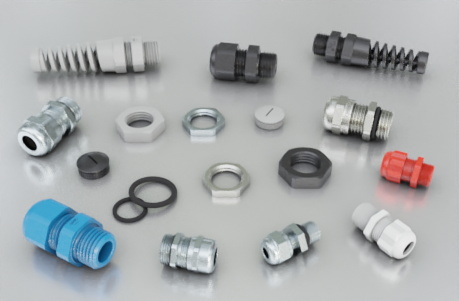 Selection of cable gland products on a grey background