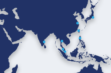 Map showing TR Asia locations