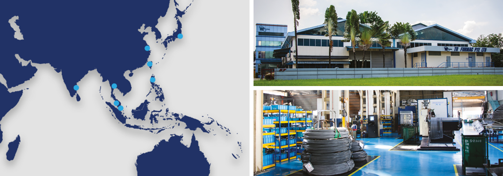 Map of TR Asia locations on left with image of TR Formac building top right and picture of factory bottom right