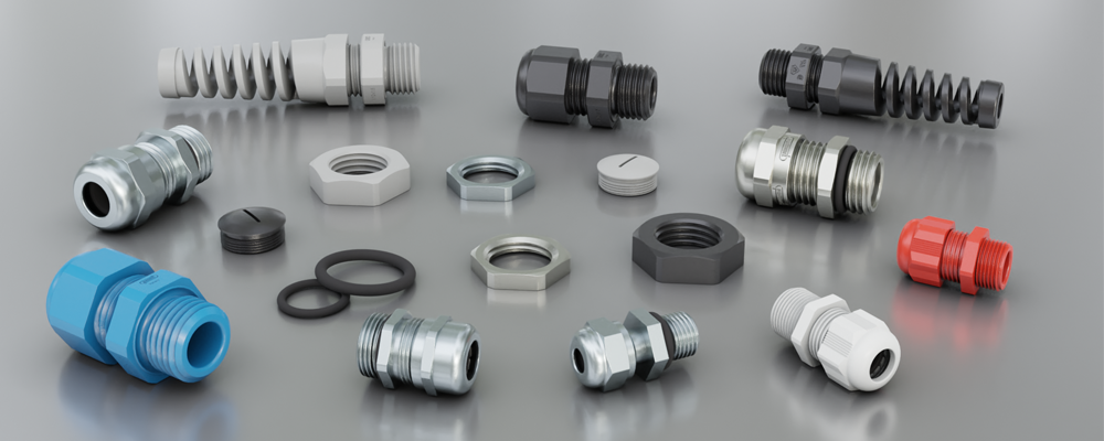 Selection of Hummel Cable Gland products on a grey surface