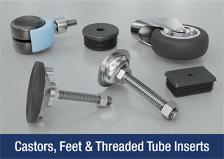 Castors, feet and threaded tube inserts