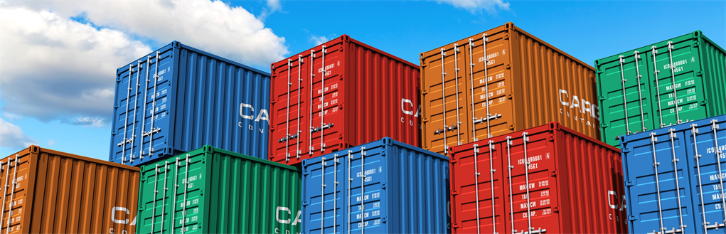 Shipping containers in a variety of colours